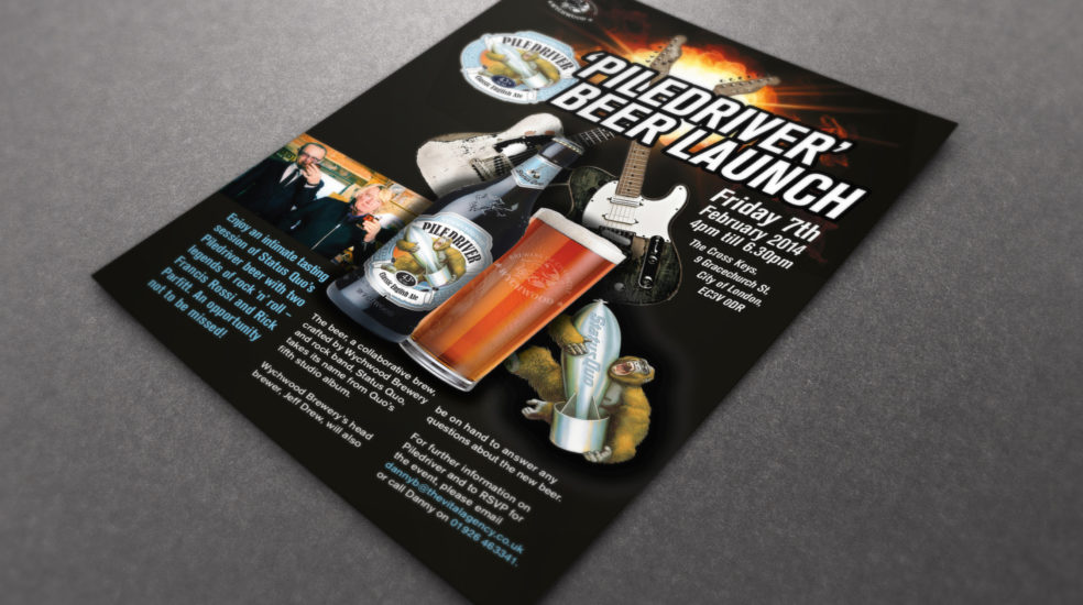 Marston's Piledriver beer launch flyer