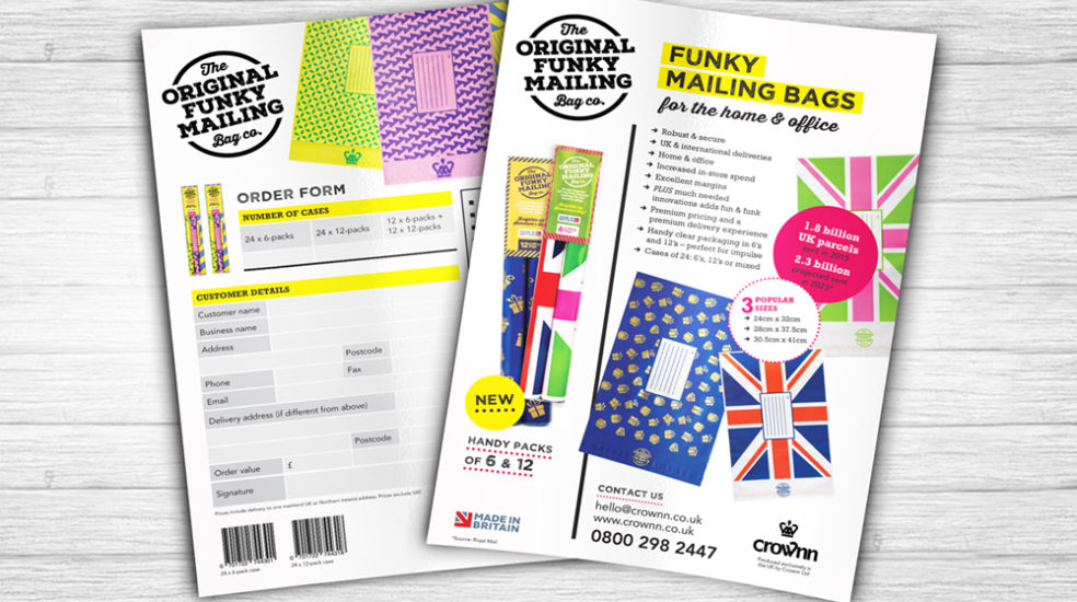 Original Funky Mailing Bag Co. sales sheet and order form